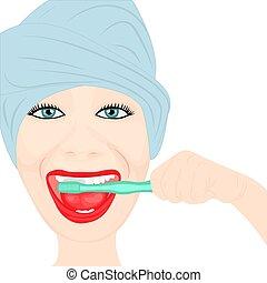 A girl cleening teeth