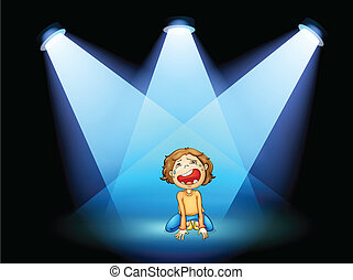 A girl crying in the middle of the stage with spotlights -...