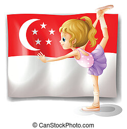 Illustration of a girl dancing in front of the flag of Singapore on a white background