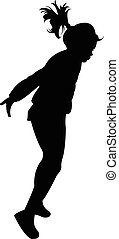 a girl dancing, silhouette