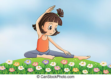 A girl doing yoga in the garden