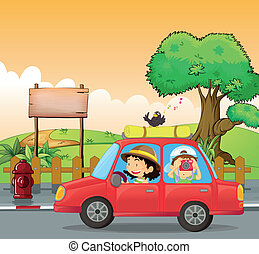 A girl driving and a boy taking pictures - Illustration of a...