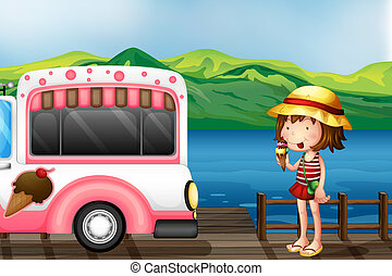 A girl eating an ice cream - Illustration of a girl eating...