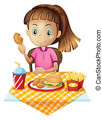 A girl eating at the fastfood store