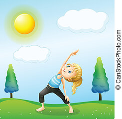 A girl exercising above the hills