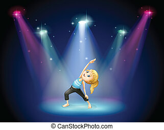 Illustration of a girl exercising at the center of the stage