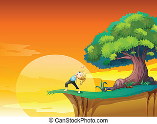 A girl exercising at the cliff - Illustration of a girl...