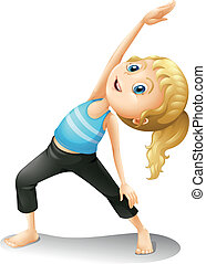 A girl exercising - Illustration of a girl exercising on a...