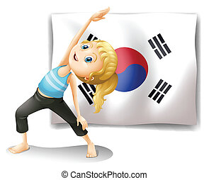 A girl exercising in front of the South Korean flag
