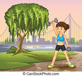 A girl exercising near the giant tree