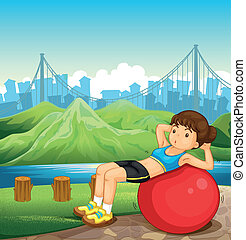 A girl exercising near the river across the tall buildings