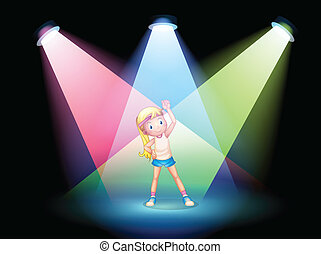 A girl exercising on the stage with spotlights
