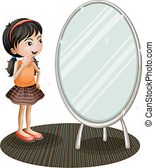 A girl facing the mirror - Illustration of a girl facing the...