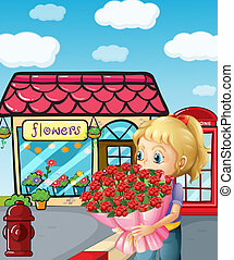 A girl from the flowershop - Illustration of a girl from the...