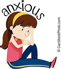 A girl having anxious illustration