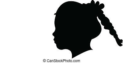 a girl head silhouette vector