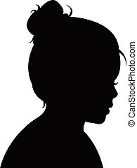 a girl head silhouette vector