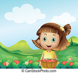 A girl holding a basket of strawberries - Illustration of a...
