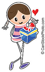 A girl holding a blue gift box