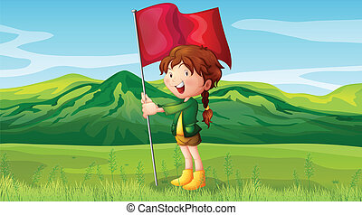A girl holding a flag