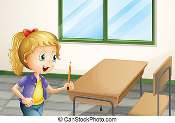 A girl holding a pencil inside the classroom