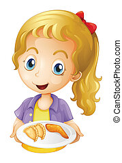 A girl holding a plate with foods - Illustration of a girl...