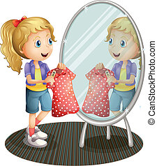 Illustration of a girl holding a red dress in front of the mirror on a white background