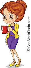 A girl holding a red mug