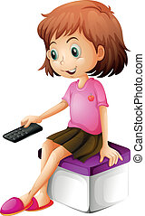 A girl holding a remote control