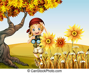 A girl holding a telescope near the sunflowers -...