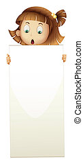 A girl holding an empty board