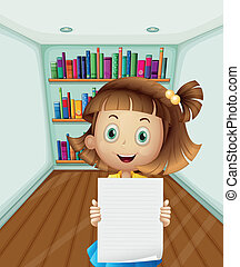 A girl holding an empty paper inside the room