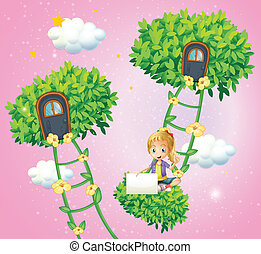 A girl holding an empty signboard near the ladder plants