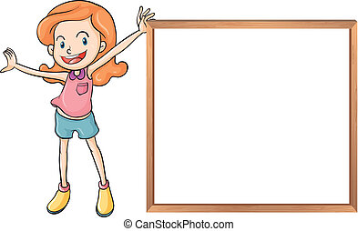 A girl holding an empty wooden blank board
