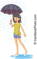 A girl holding an umbrella