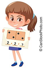 A girl holding math question card