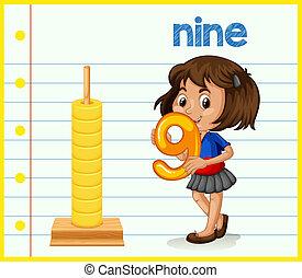 A girl holding number nine