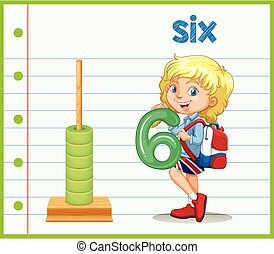 A girl holding number six