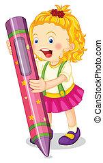 a girl holding pencil