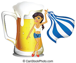 A girl holding the flag of Greece in front of a big mug of beer
