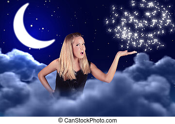a girl holds something on a hand in sky with a moon and stars