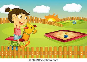 A girl - Illustration of a girl playing in a beautiful...