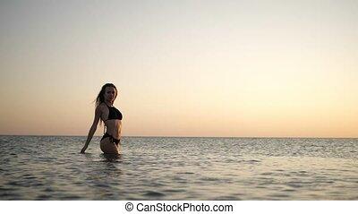 girl in a black bikini