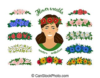 A girl in a flower wreath. A set of Floral tiaras. Vector elegant beautiful young woman portrait. Isolated