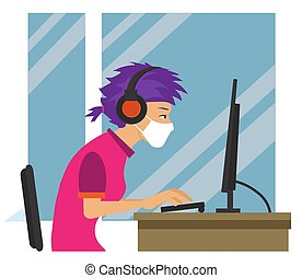A girl in a medical mask works on a computer. Remote work. ...