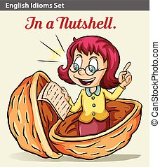 A girl in a nutshell - An idiom showing a girl in a nutshell
