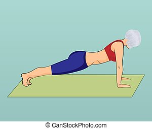 A girl in a plank pose