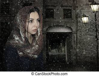 A girl in a scarf.