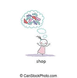 A girl in a shoe shop. Illustration.