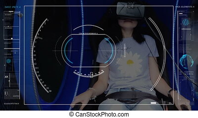 A girl in a virtual reality headset, sitting in a chair, interacts with a Futuristic holographic interface. hud